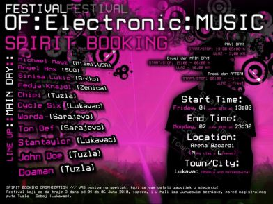 Spirit Booking press Festival of Electronic Music @ Lukavac